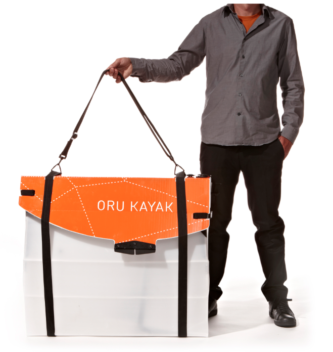 Oru Kayak all folded up and ready-to-carry