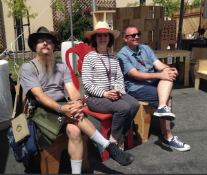Justin Wright, and Anne and Gary of AtFAB take a break
